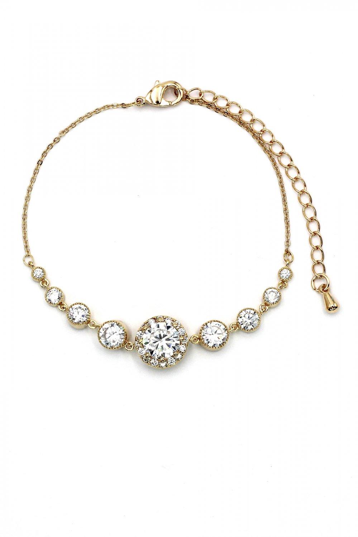 Fashion electrocardiogram crystal gold bracelet