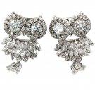 Lovely crystal pendant owl silver earrings