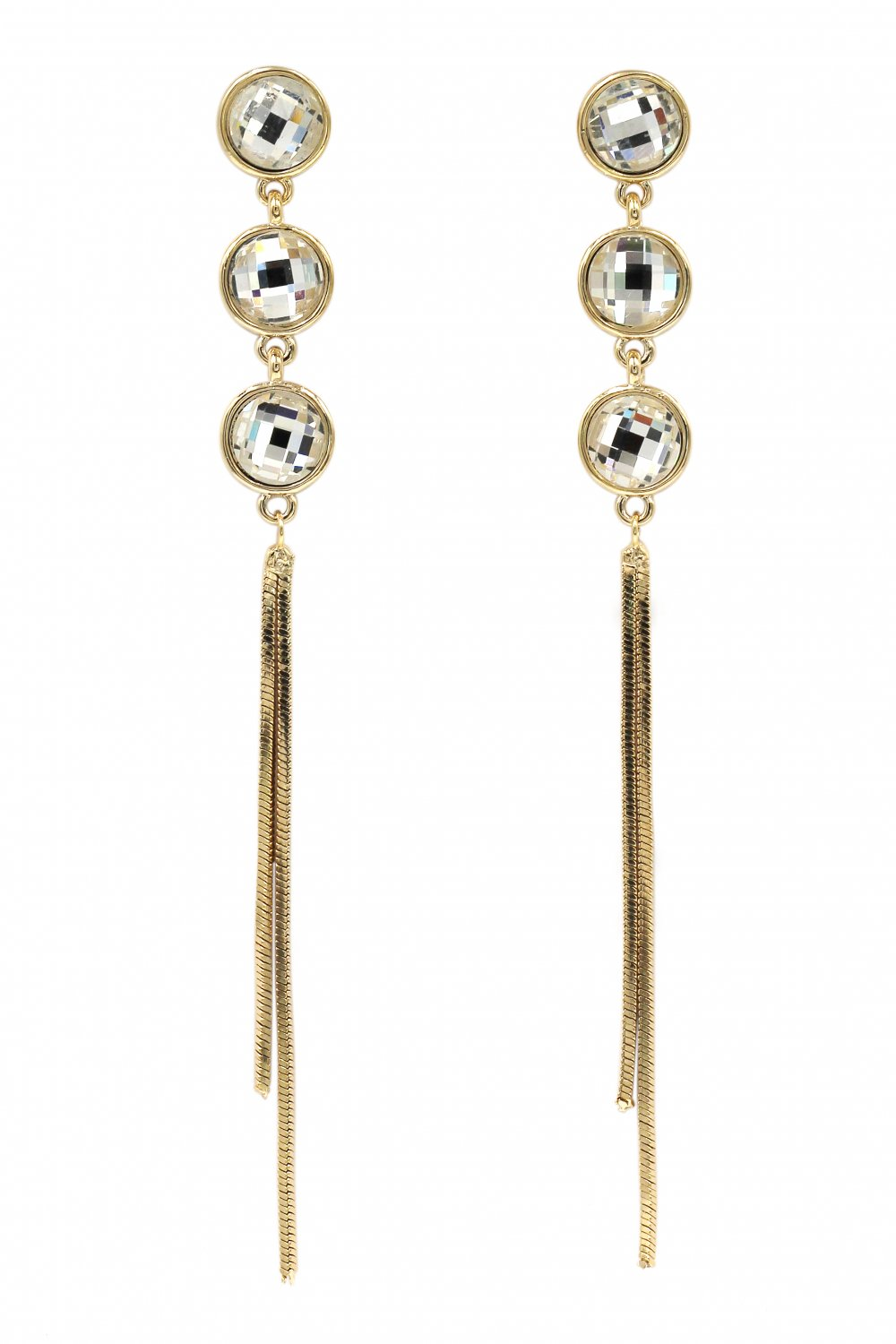 Exaggerated tassels round crystal gold earrings