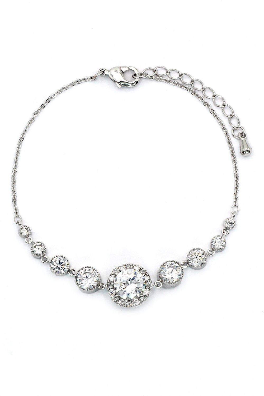 Fashion electrocardiogram crystal silver bracelet