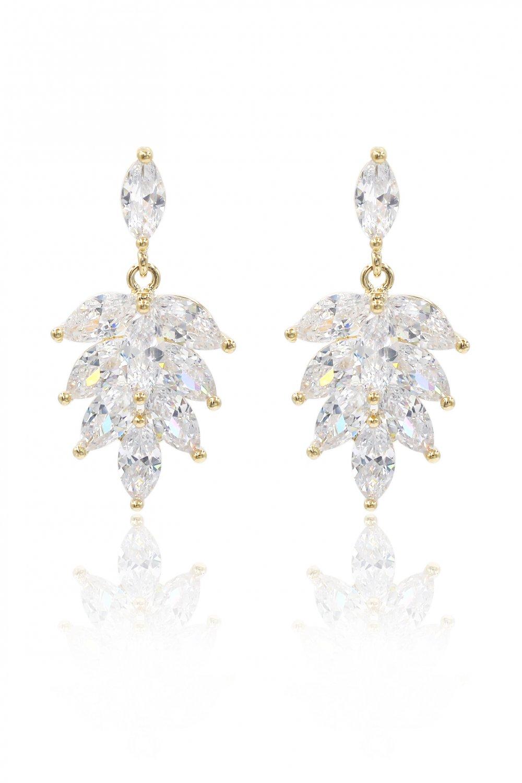 Elegant temperament crystal gold earrings