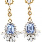 Elegant pendant blue crystal golden earrings
