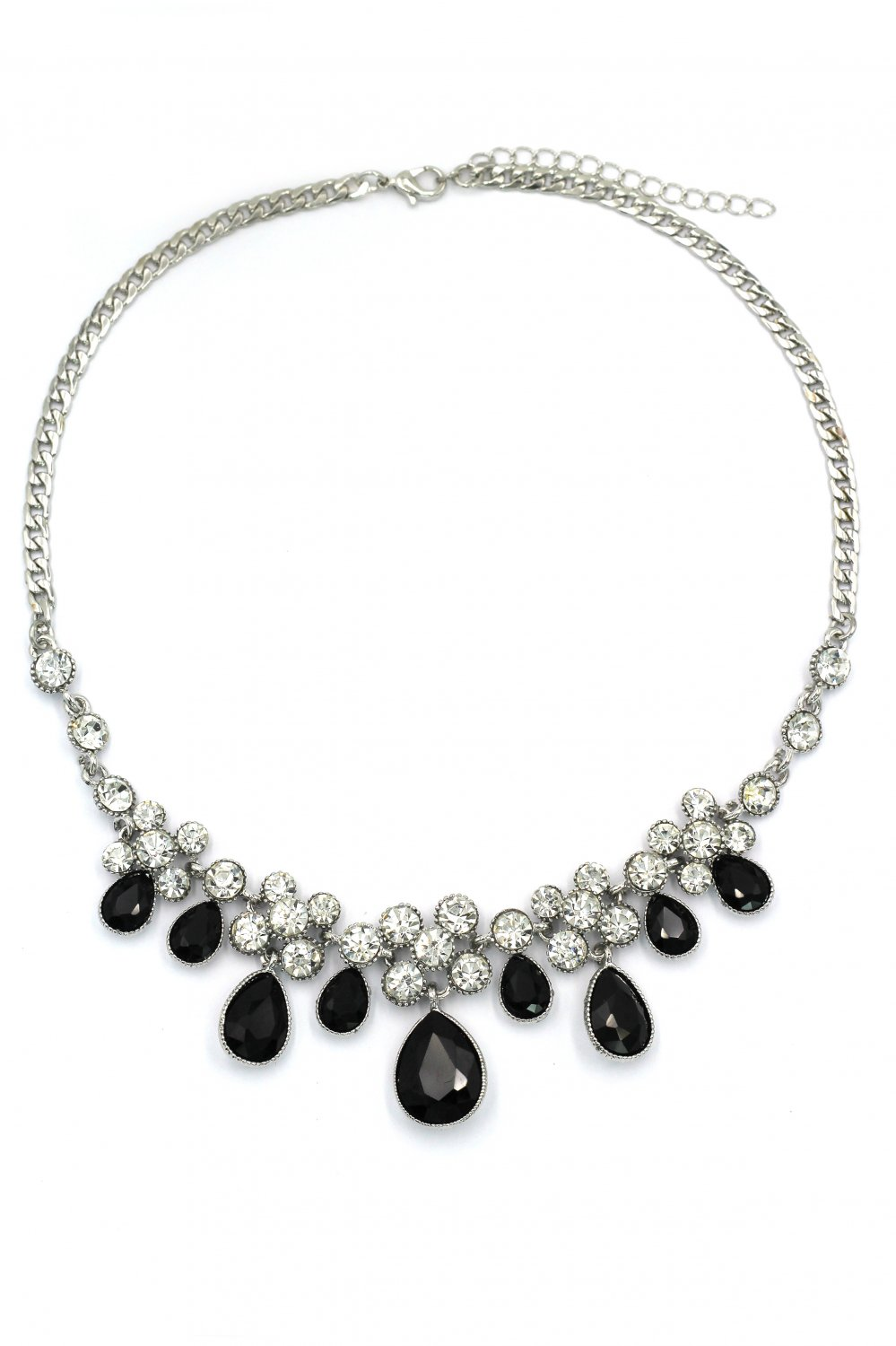 Noble black garnet crystal silver necklace