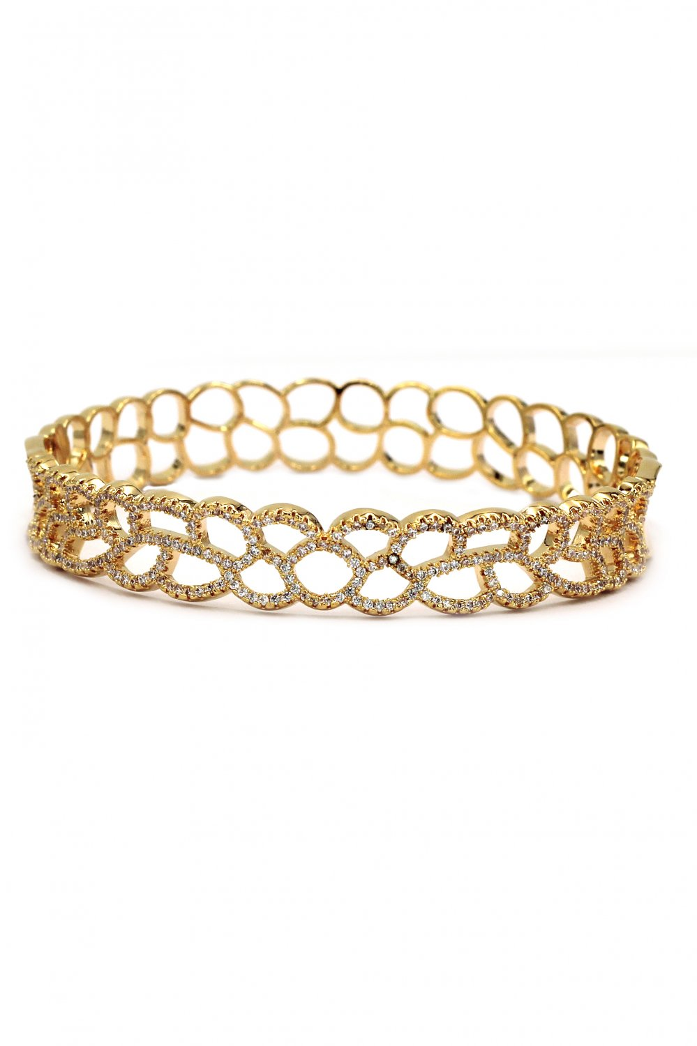 Hollow micro crystal gold bracelet