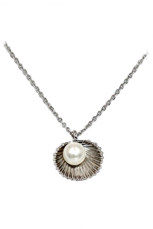 Mini shell pearl silver necklace