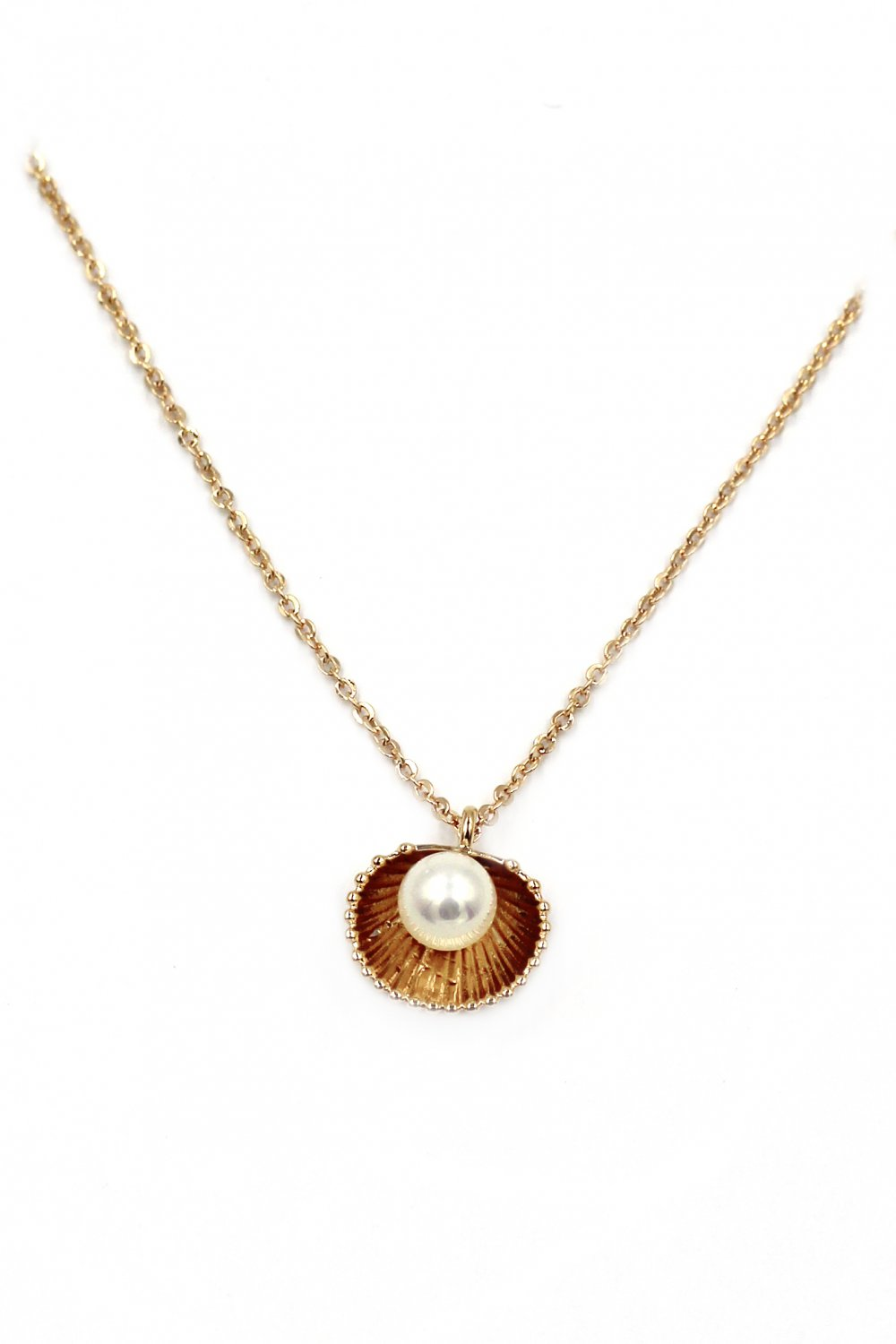 Mini shell pearl gold necklace