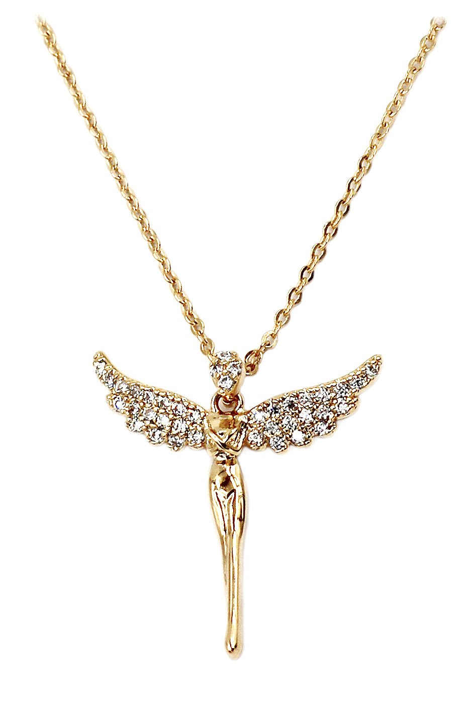 Mini angel clavicle gold necklace