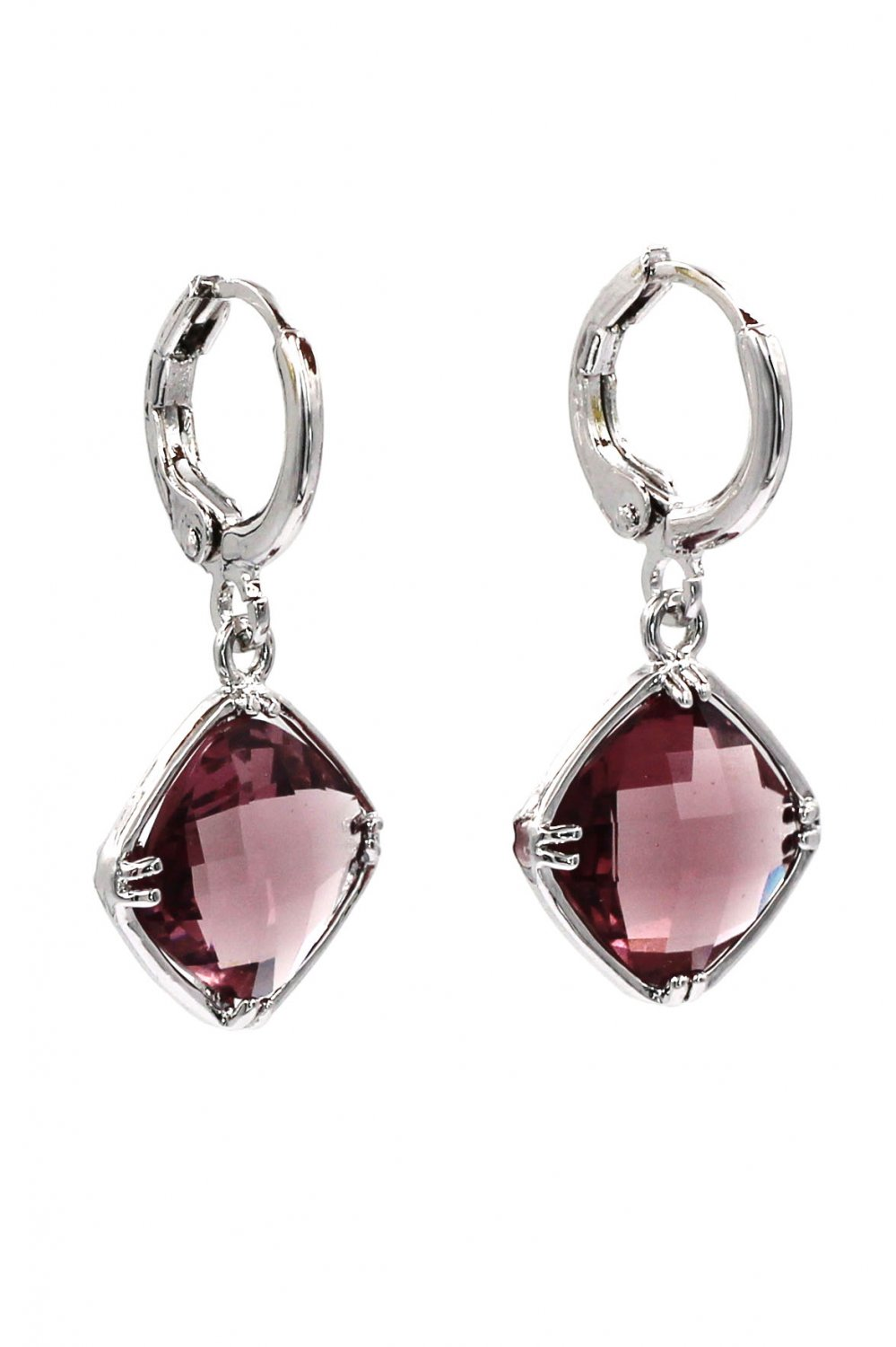 Square purple crystal pendant earrings