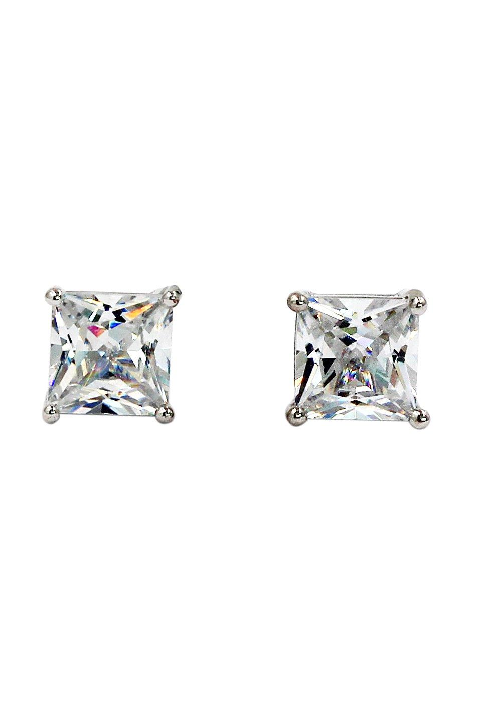 Simple side crystal silver earrings