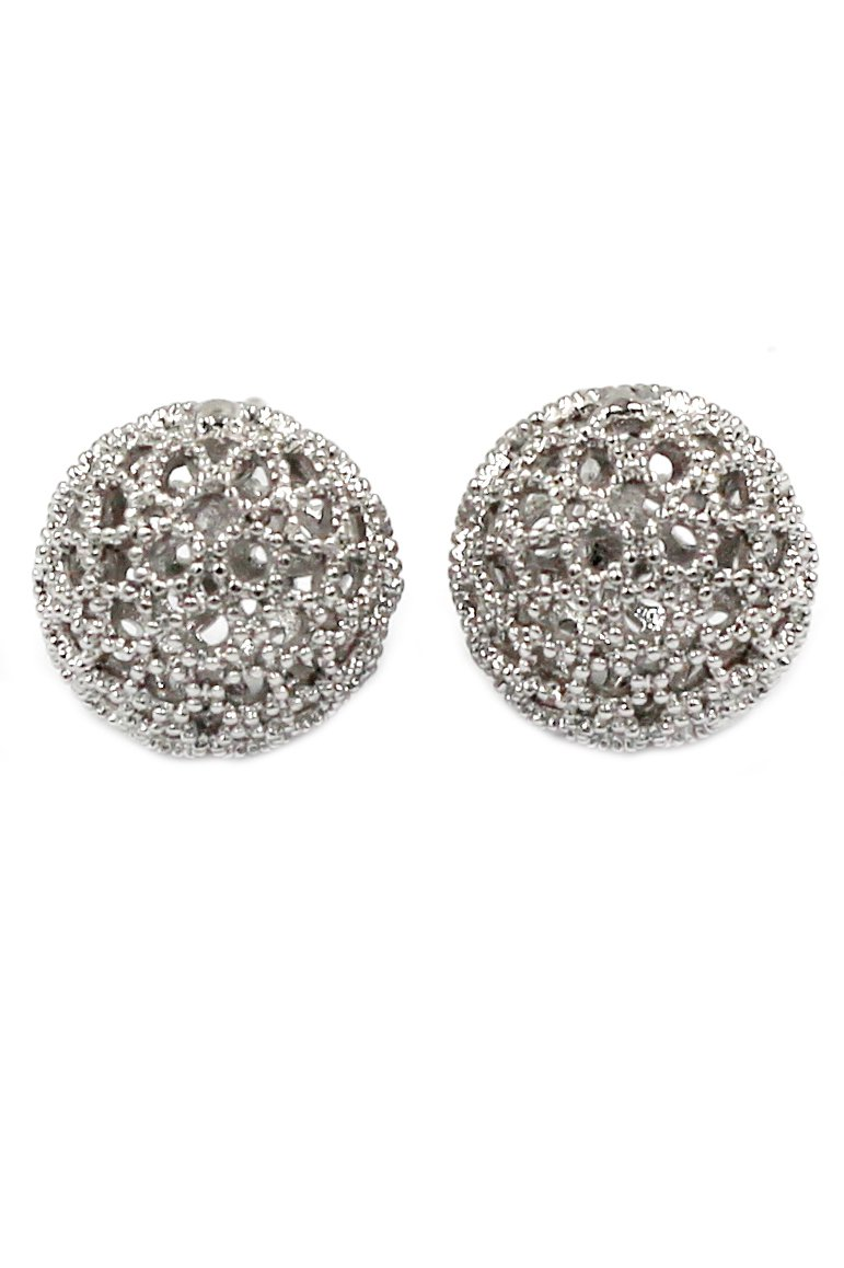 Pierced ball silver earrings