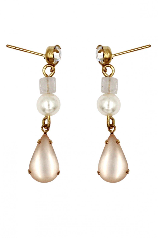 Fashion water pink drop pendant pearl earrings
