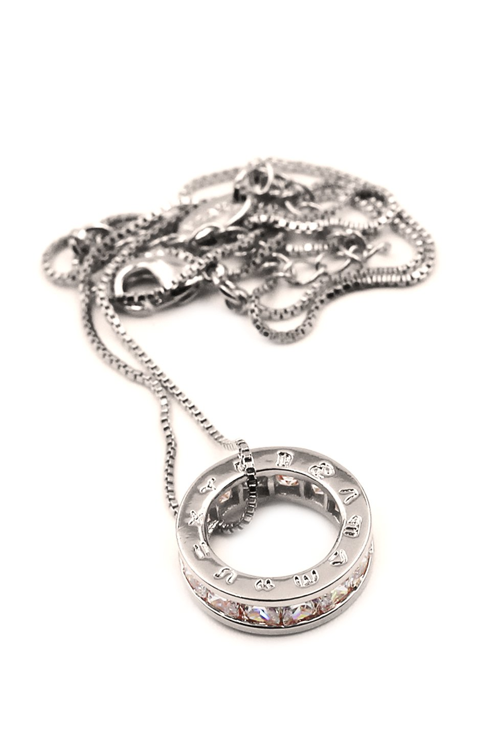 Circle the letter crystal silver necklace