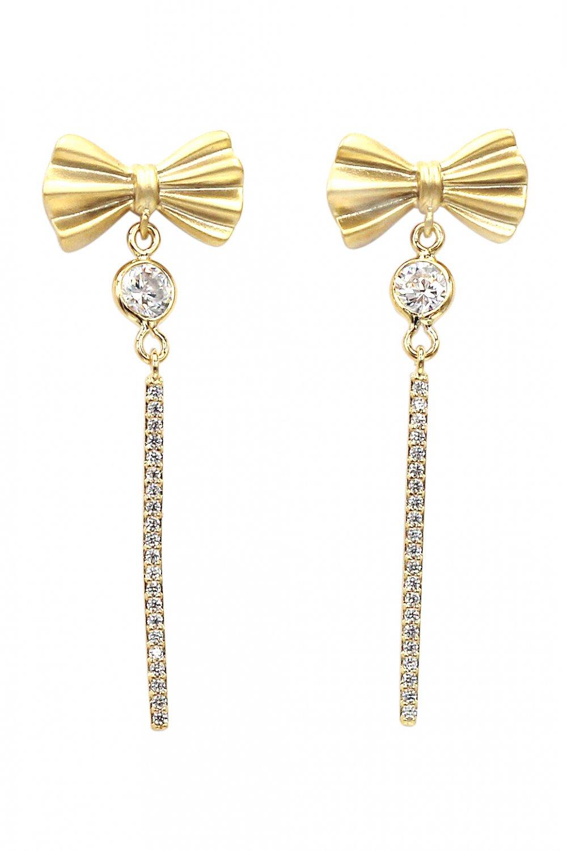 Bow tassel flashing crystal gold earrings