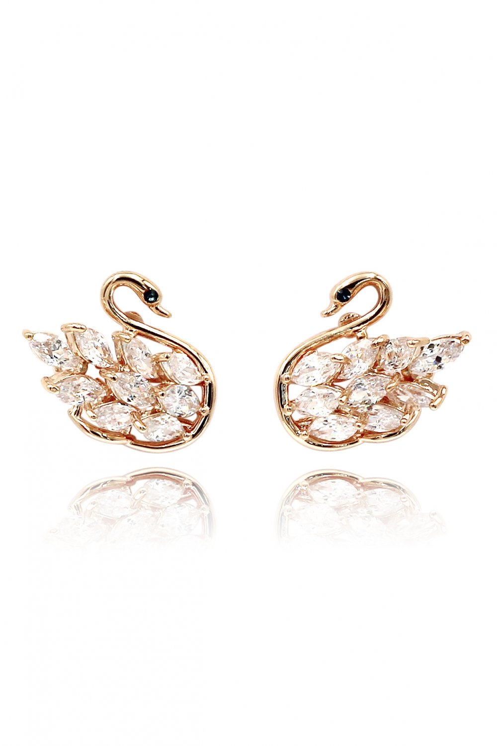 Inlaid crystal swan rose gold earrings