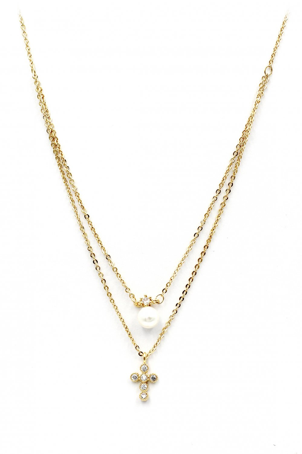 Duplexes mini crystal cross pearl gold necklace