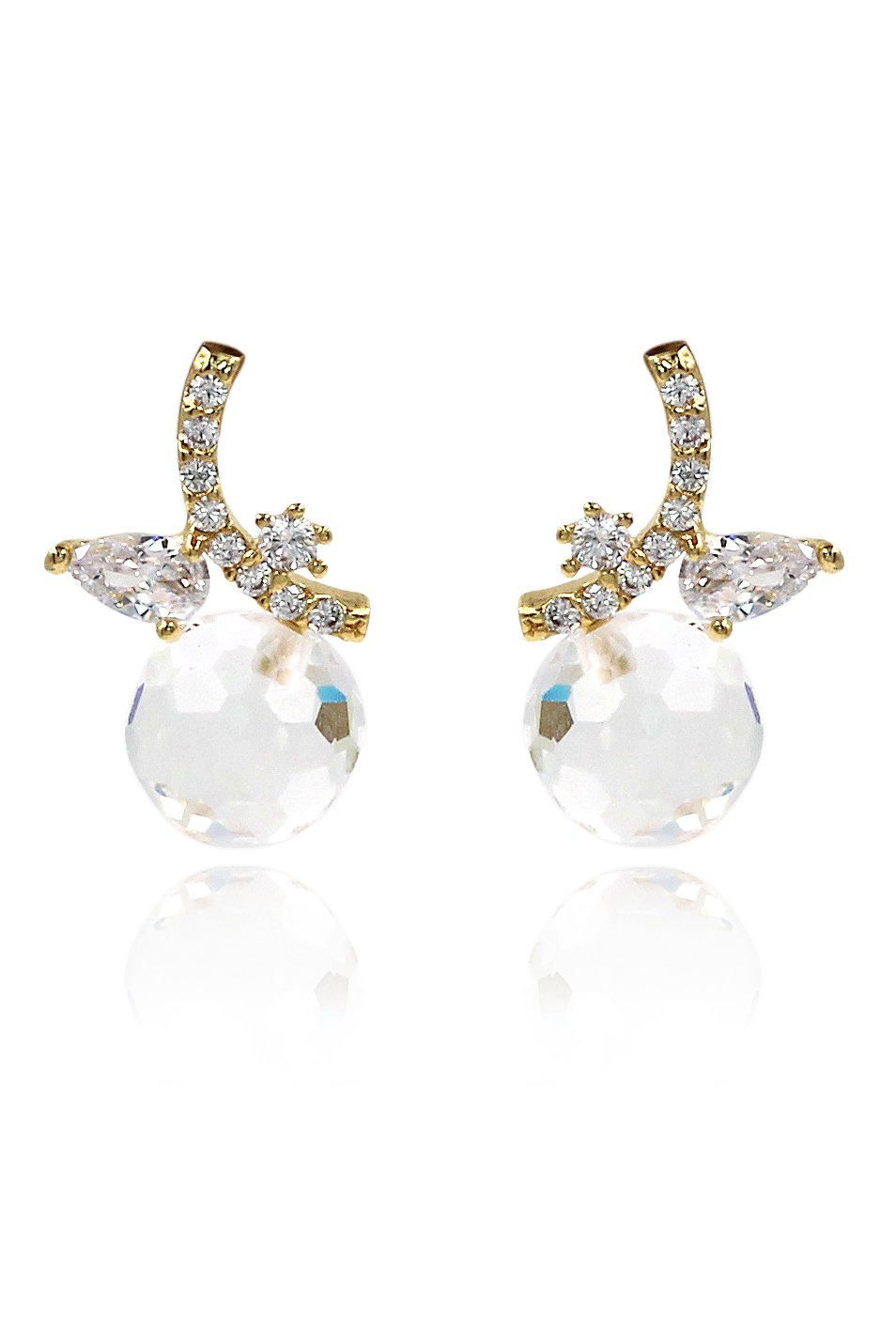 Cabinet transparent crystal ball pendant earrings