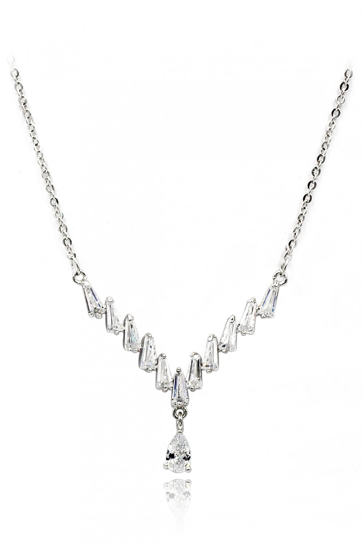 Delicate pendant crystal silver necklace