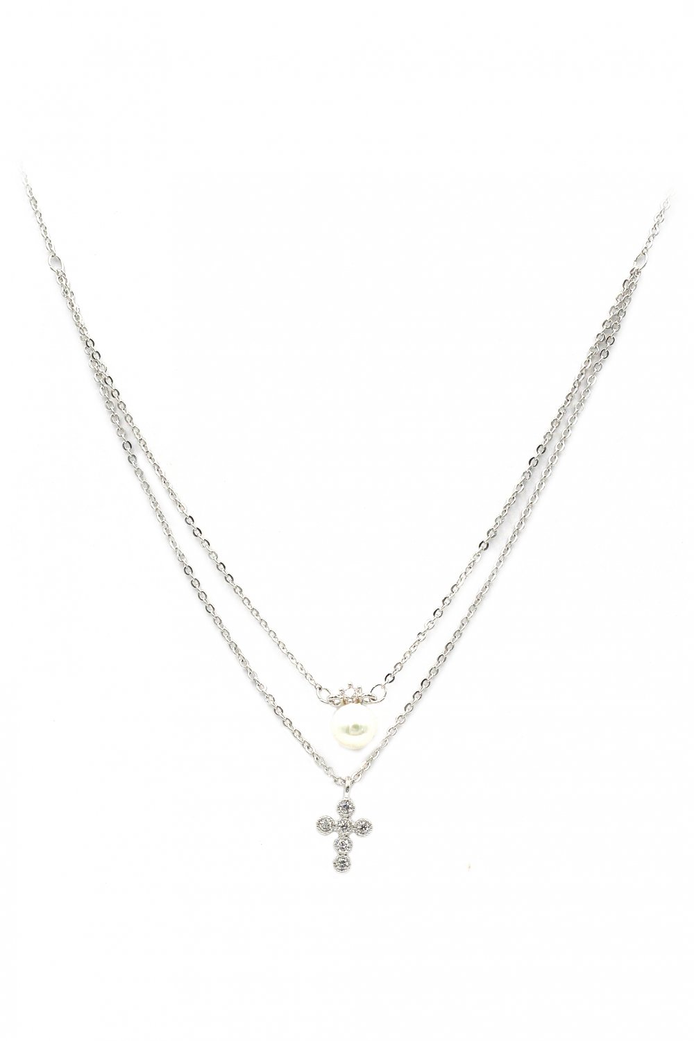 Duplexes mini crystal cross pearl silver necklace