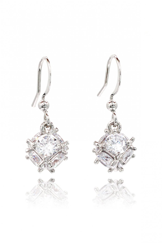 Lady crystal ball silver earrings