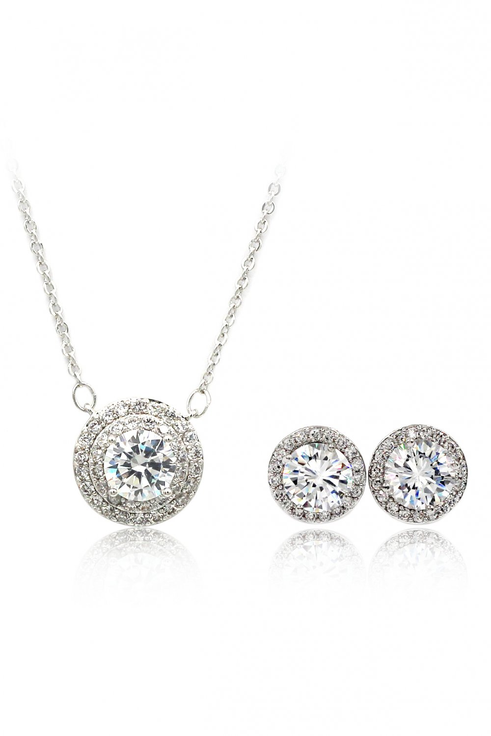Sparkling crystal clavicle necklace earrings silver set