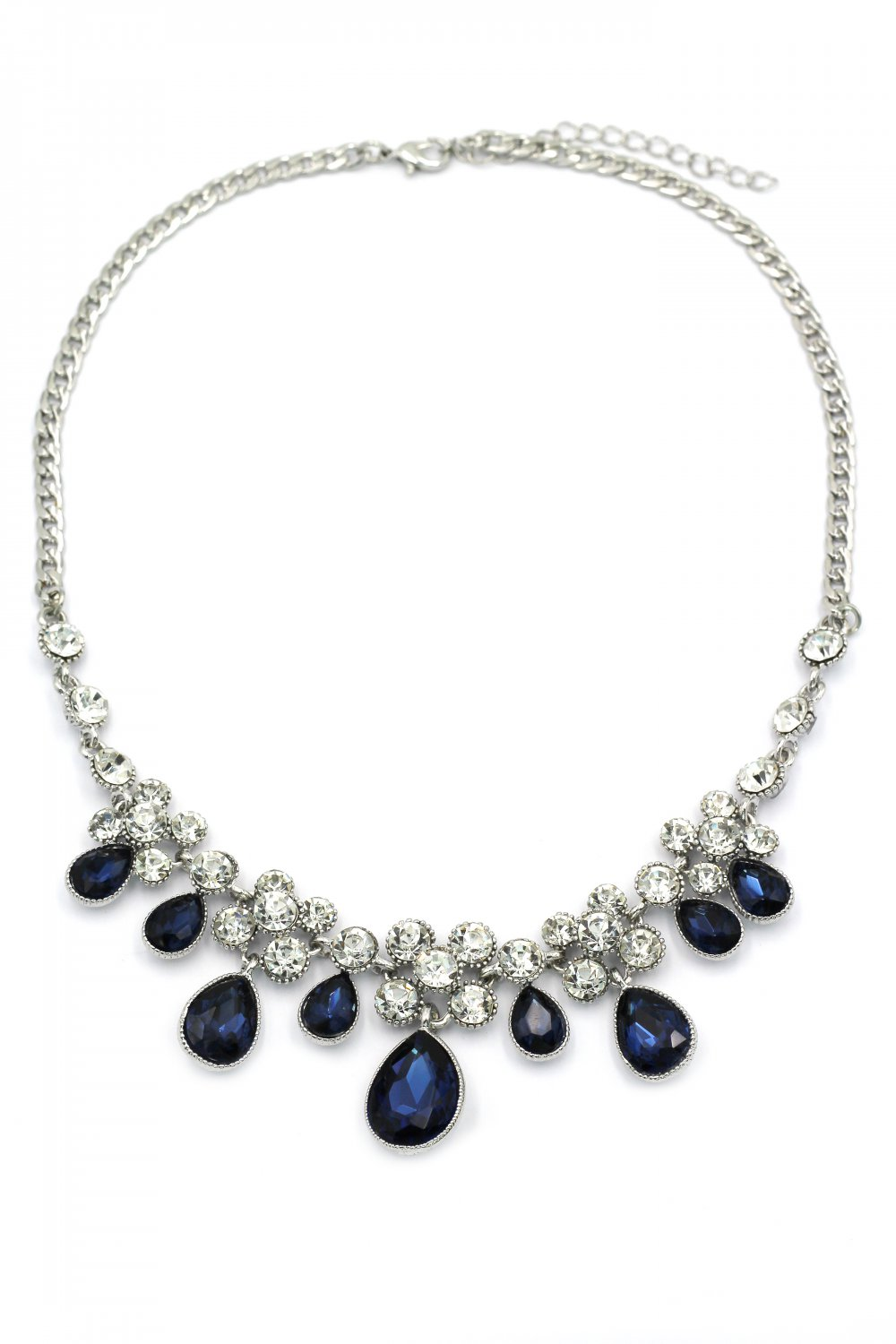 Noble blue garnet crystal silver necklace