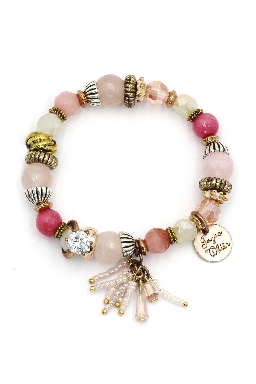 Colorful pendant bead pink bracelet