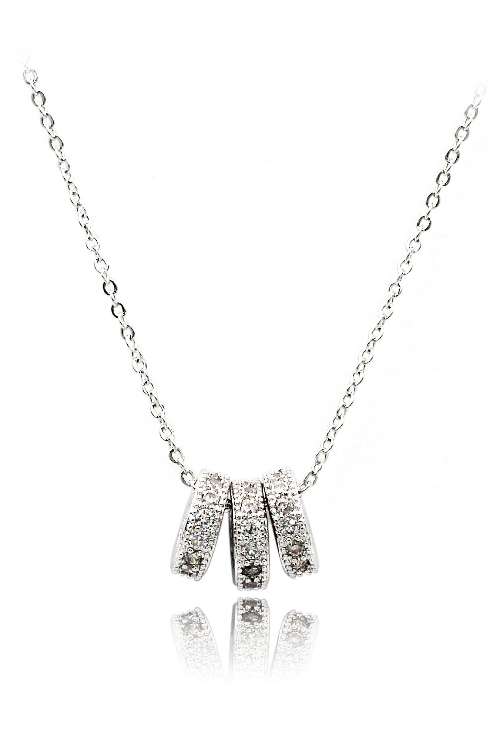 Small silver wheel crystal necklace