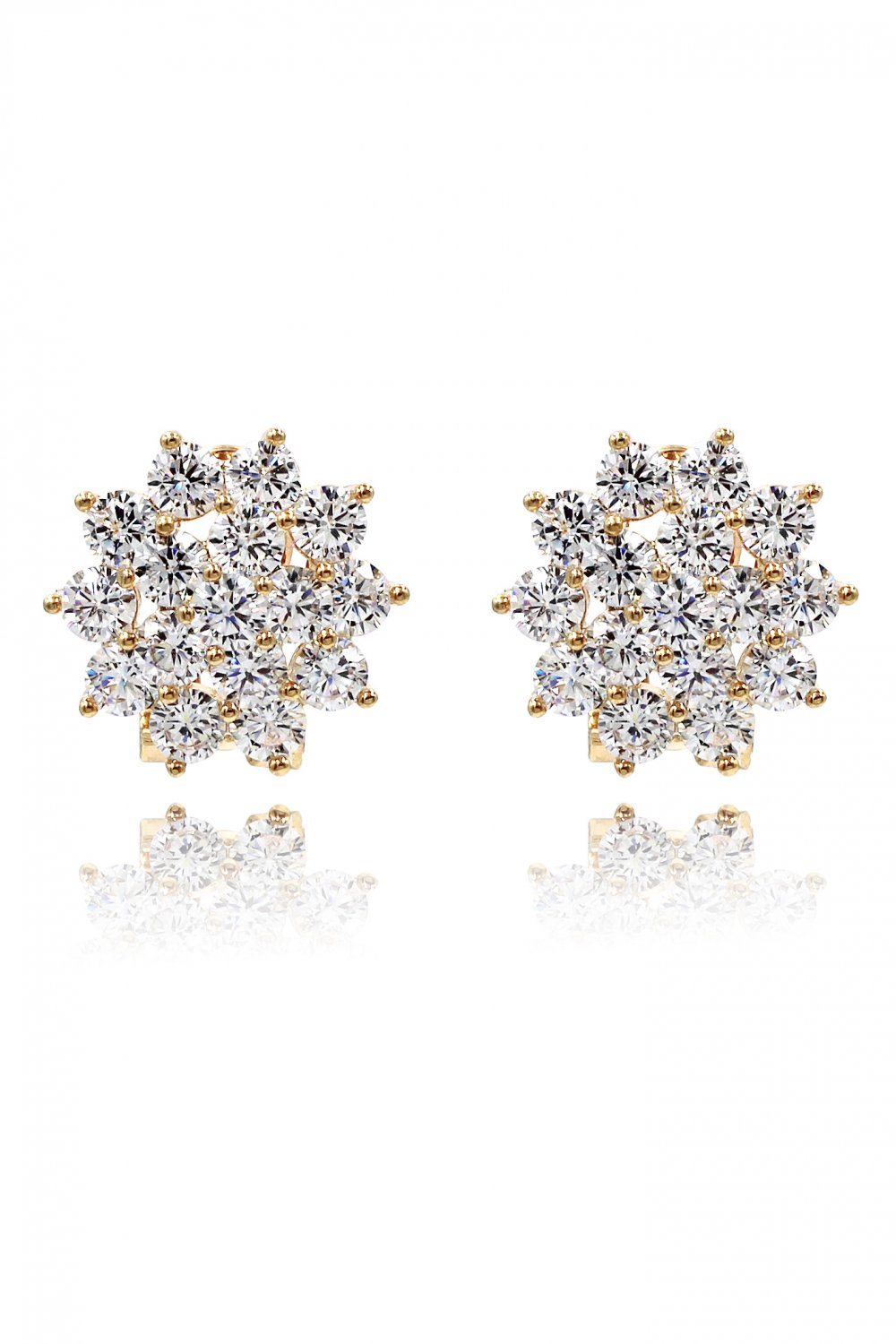 Flashing crystal flower gold earrings