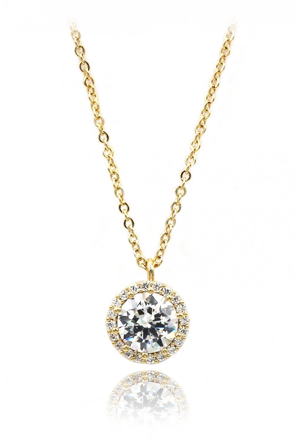 Flashing crystal gold necklace