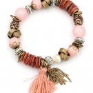 Colorful bead line tassel pink bracelet