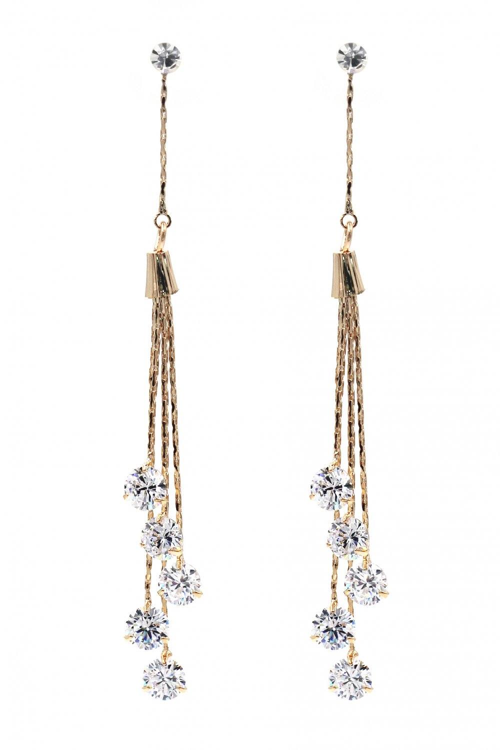 Fashion crystal grape tasselgold earrings