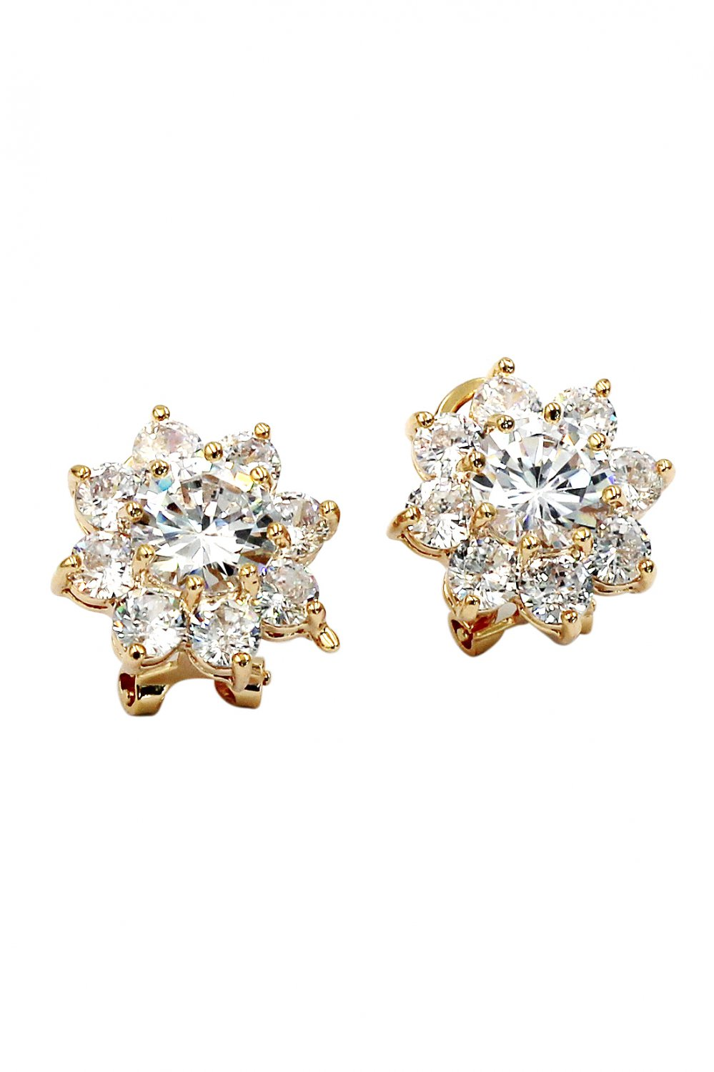 Sparkling crystal flower lady gold earrings