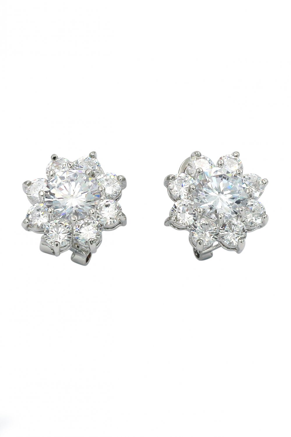 Sparkling crystal flower lady silver earrings