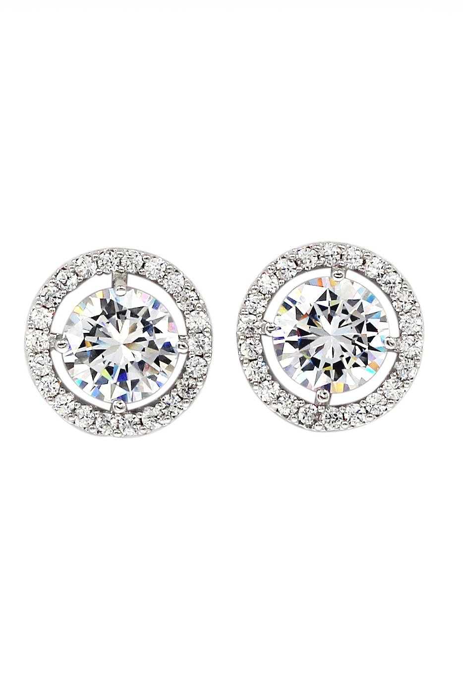 Sparkling shining crystal silver earrings