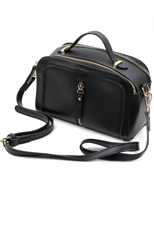 Multi-compartment leather shoulder pillow black purse