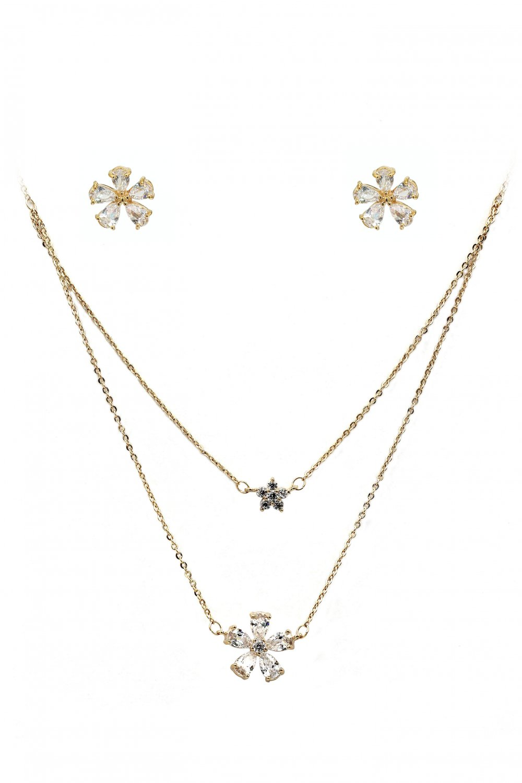 Duplexes mini flowers crystal necklace earrings set