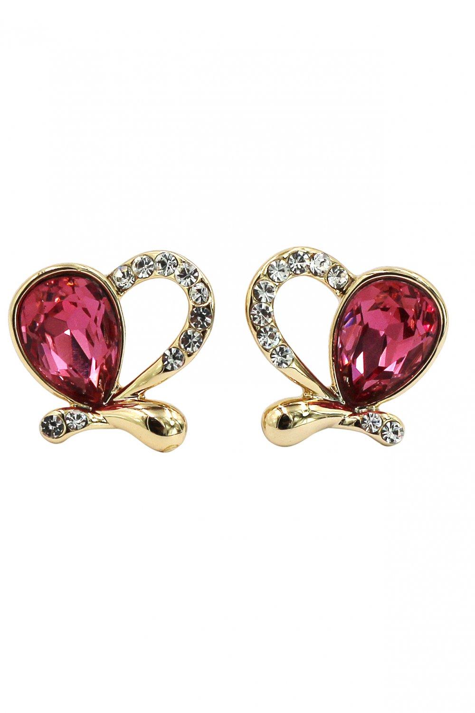 Lovely asymmetry golden heart red crystal earrings