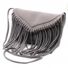 Fringed suede shoulder small gray purse