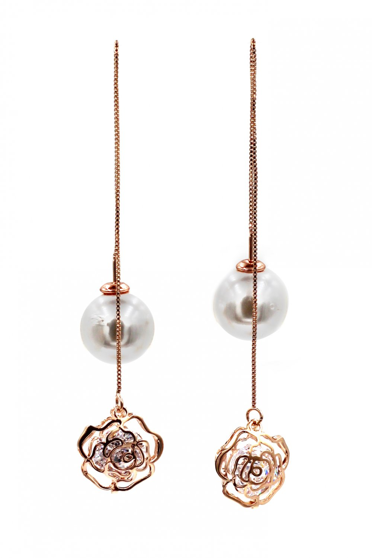 Elegant rose line and pearl rose gold earrings