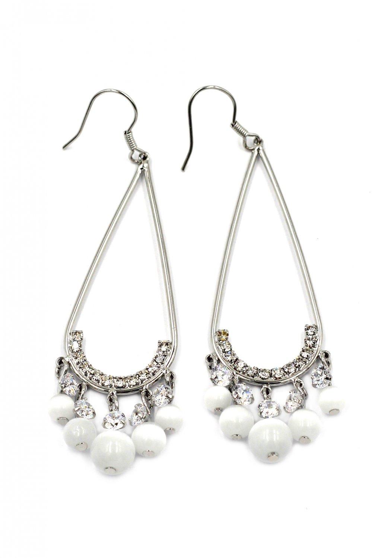 Pendant beads silver earrings