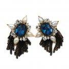 Classical blue crystal pearl earrings