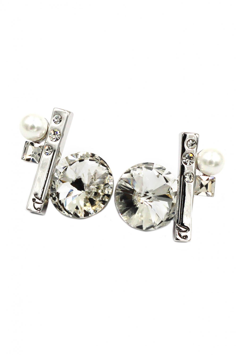 Special white crystal silver earrings