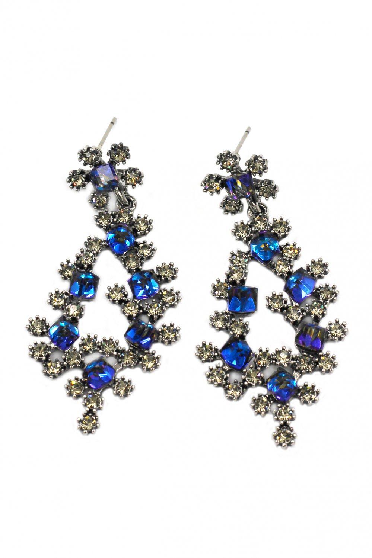Sparkling blue crystal silver earrings
