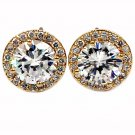 Shining single crystal gold earrings