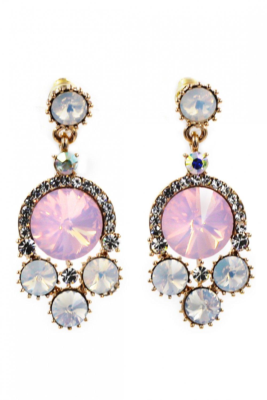 Lovely pink crystal golden rim earrings