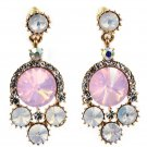 Lovely pink crystal golden rim earrings