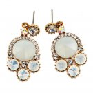 Lovely white crystal golden rim earrings