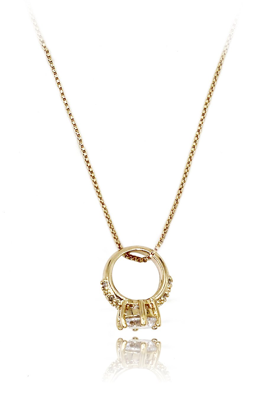 Sparkling mini crystal ring gold necklace