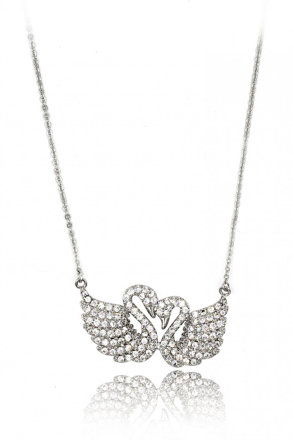 Sweet swan love crystal silver necklace