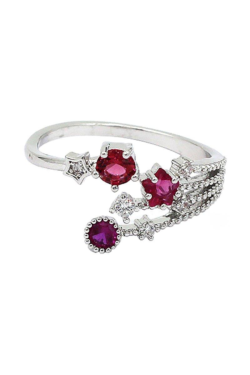 Shining red crystal meteor ring